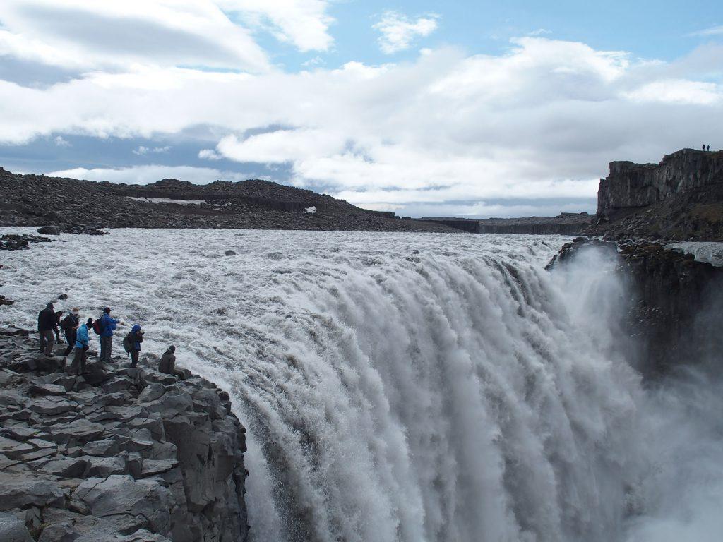 Wasserfall, Menschen, Stein, Himmel, Island