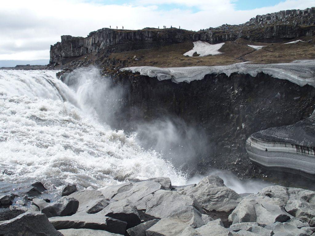 Wasserfall, Felsen, Schnell, Lavagestein, Menschen, Himmel