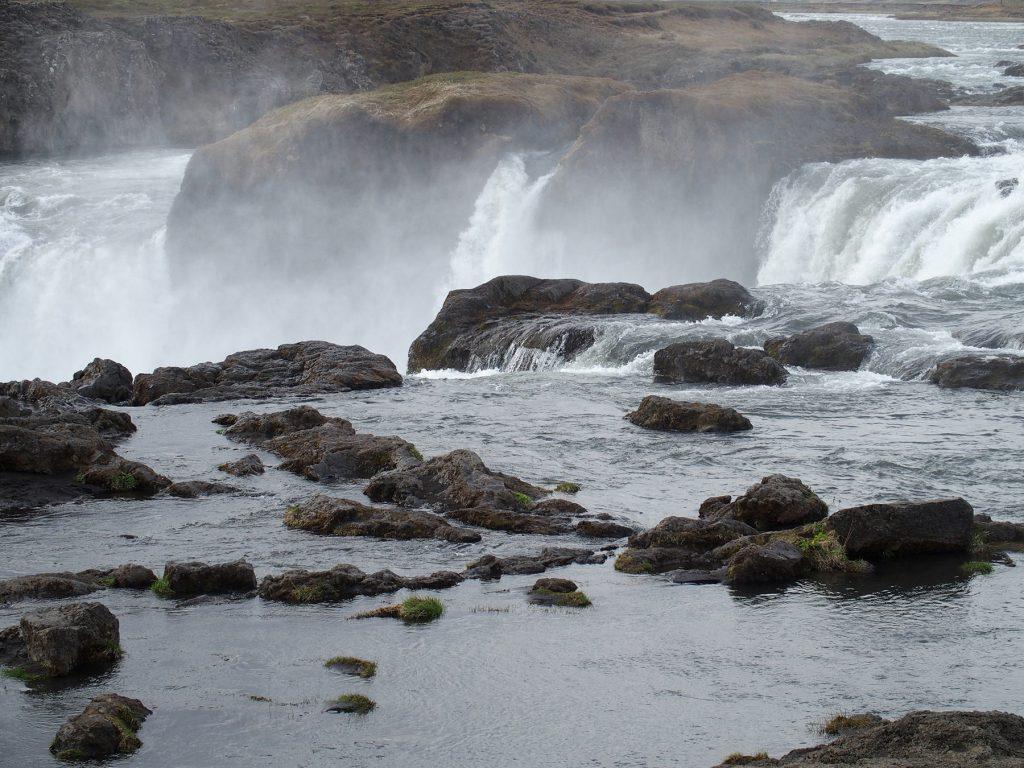 Wasserfall, Fluss, Nebel, Steine, Island, Godafoss